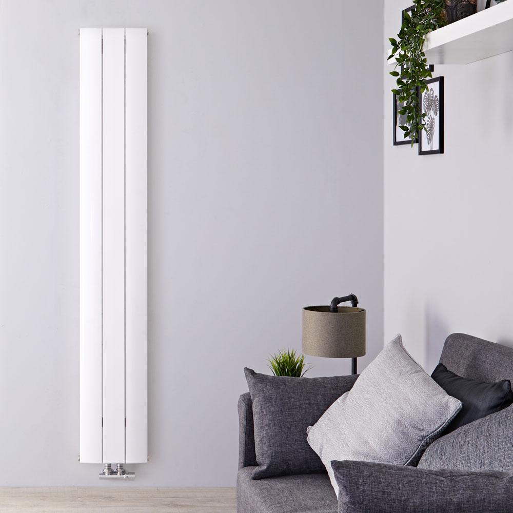 Radiateur Design Vertical Raccordement Central Aluminium Blanc Aurora 180cm x 28cm x 4,6cm 1152 Watts