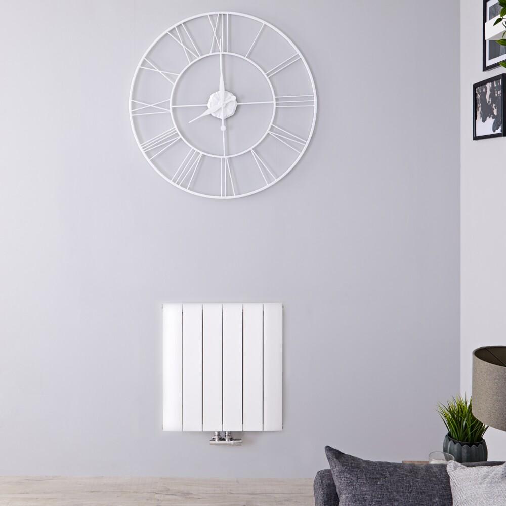 Radiateur Design Horizontal Raccordement Central Aluminium Blanc Aurora 60cm x 56,5cm x 4,6cm 692 Watts