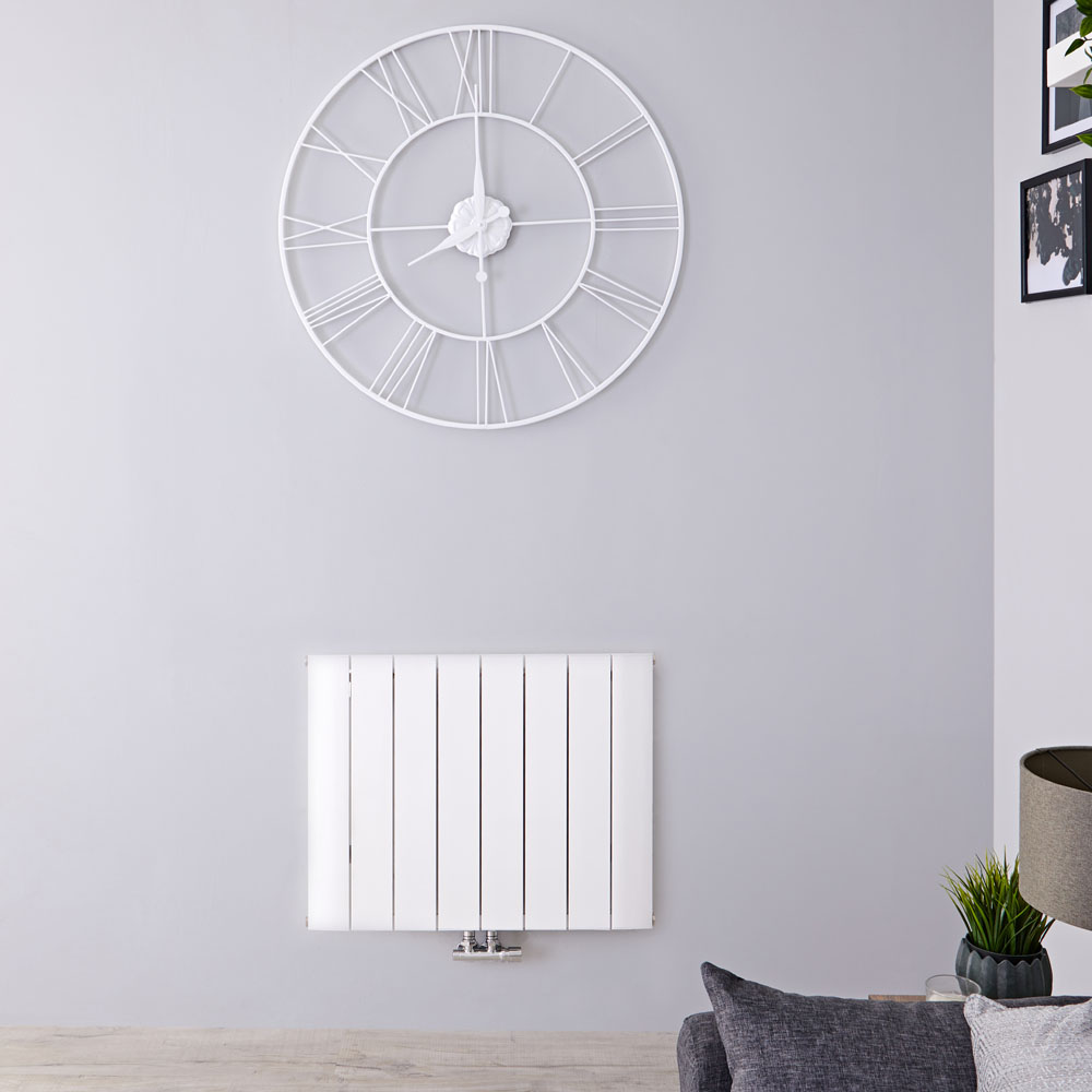 Radiateur Design Horizontal Raccordement Central Aluminium Blanc Aurora 60cm x 75,5cm x 4,6cm 1024 Watts