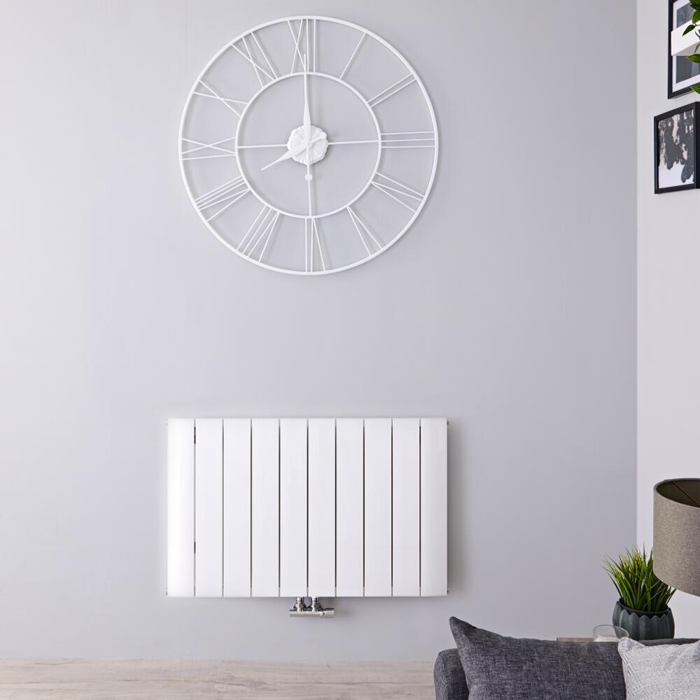 Radiateur Design Horizontal Raccordement Central Aluminium Blanc Aurora 60cm x 94,5cm x 4,6cm 1153 Watts