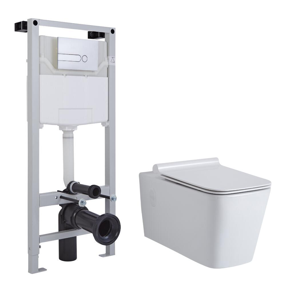 Pack WC Suspendu Sandford - Bâti-support 115x50x18cm & Plaque de Déclenchement au Choix