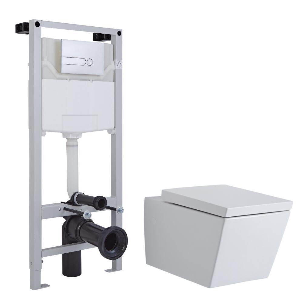 Pack WC Suspendu Halwell - Bâti-support 115x50x18cm & Plaque de Déclenchement au Choix