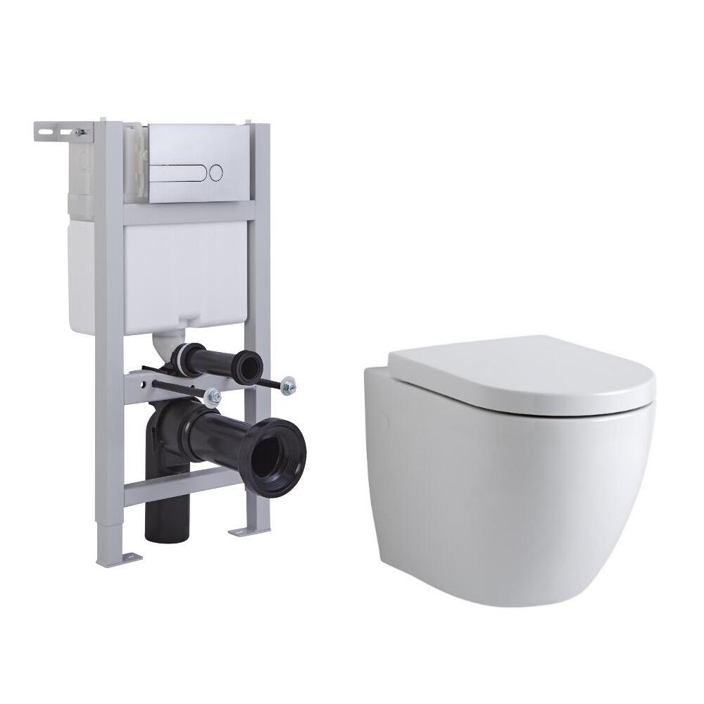 Pack WC Suspendu Ashbury - Bâti-support 82x40x15/20cm & Plaque de Déclenchement au Choix