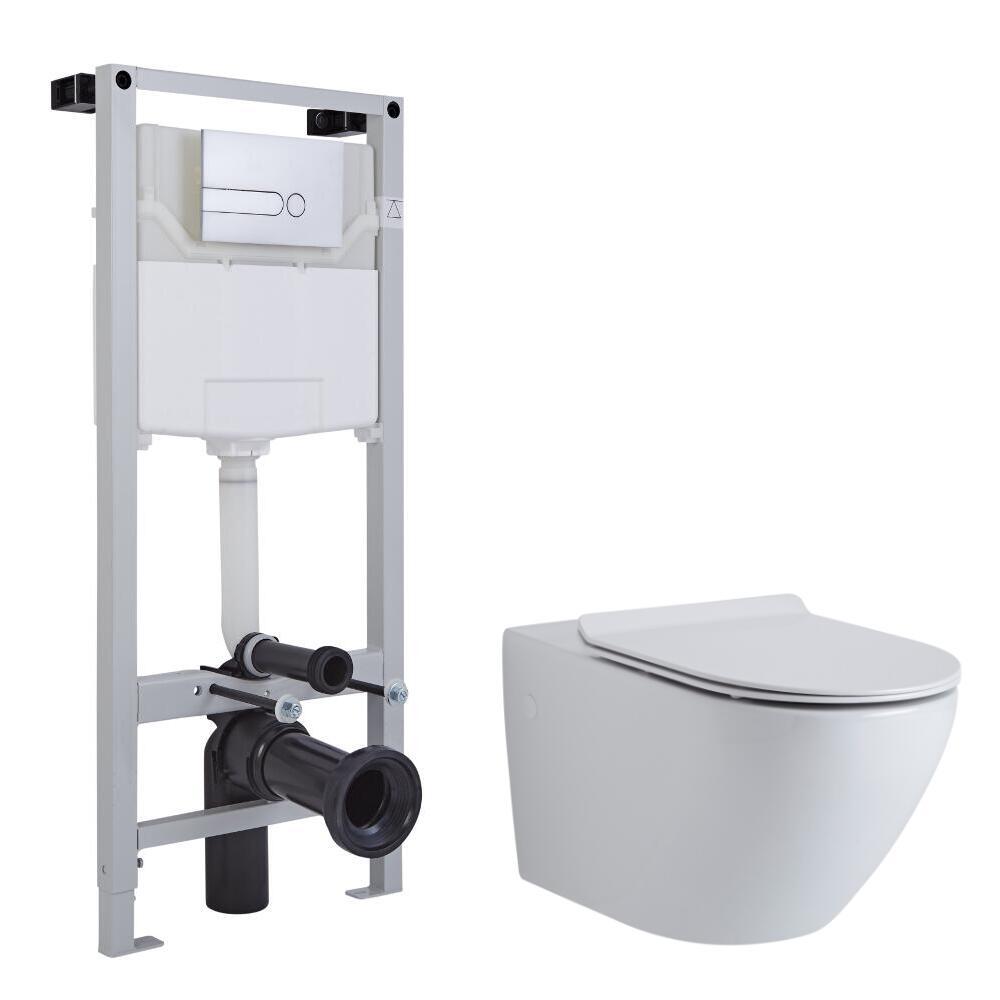 Pack WC Suspendu Otterton- Bâti-support 115x50x18cm & Plaque de Déclenchement - Choix parmi 4 Modèles