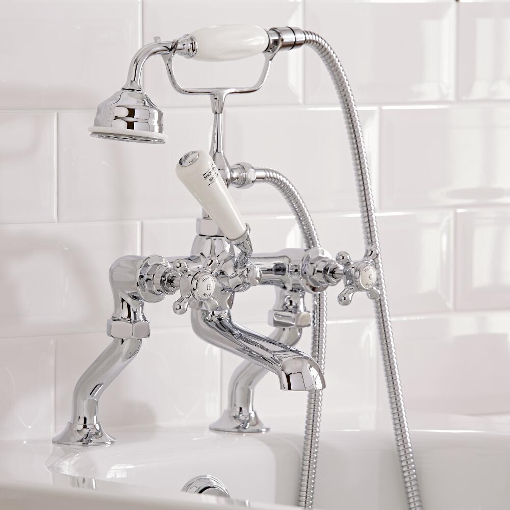 Robinet bain douche rétro - Blanc & Chrome -Topaz