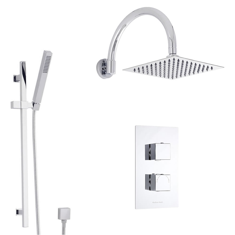 Douche Encastrable Thermostatique Design Cubique Pommeau 20x20cm