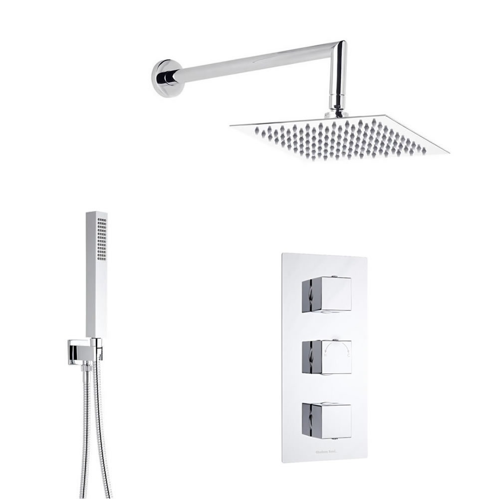 Douche Encastrable Thermostatique Pommeau Carré 30cm & Douchette