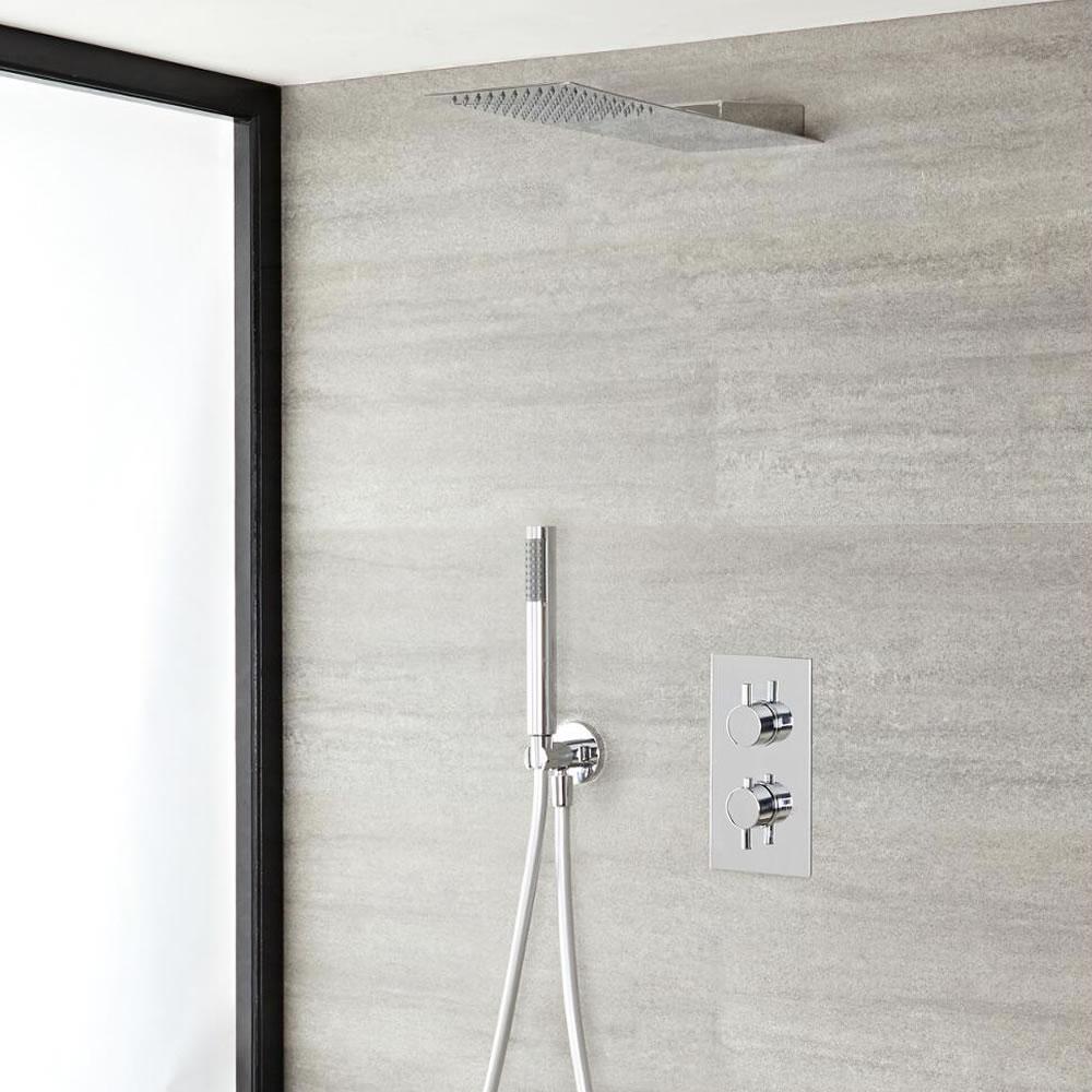 Kit Douche Thermostatique encastrable Design Géométrique Pommeau 23x40cm & Douchette Ecco