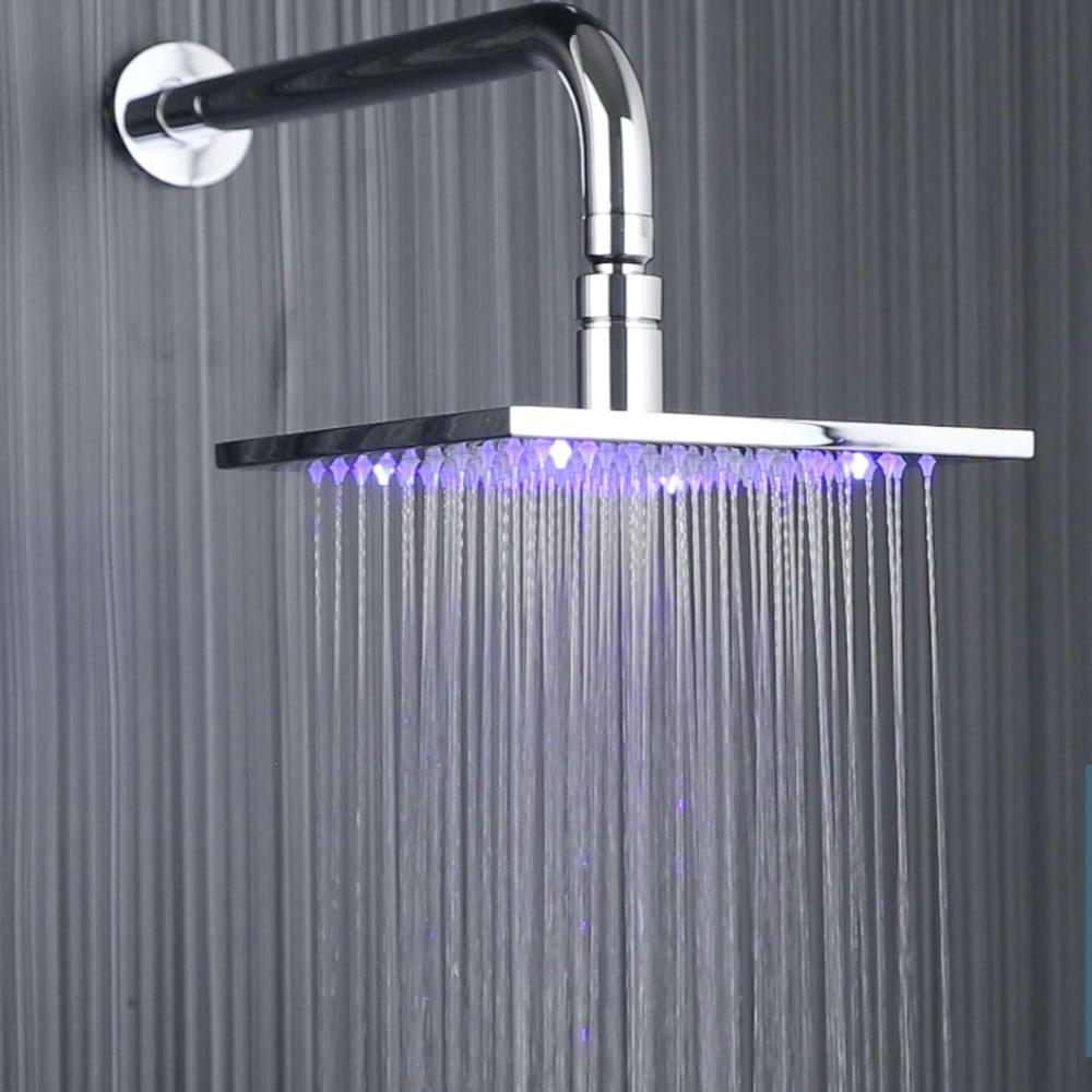 Pomme de douche carrée 20cm à LED