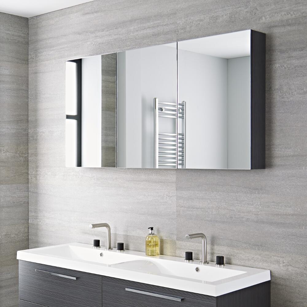Armoire miroir de salle de bains 135x15x70cm Gris