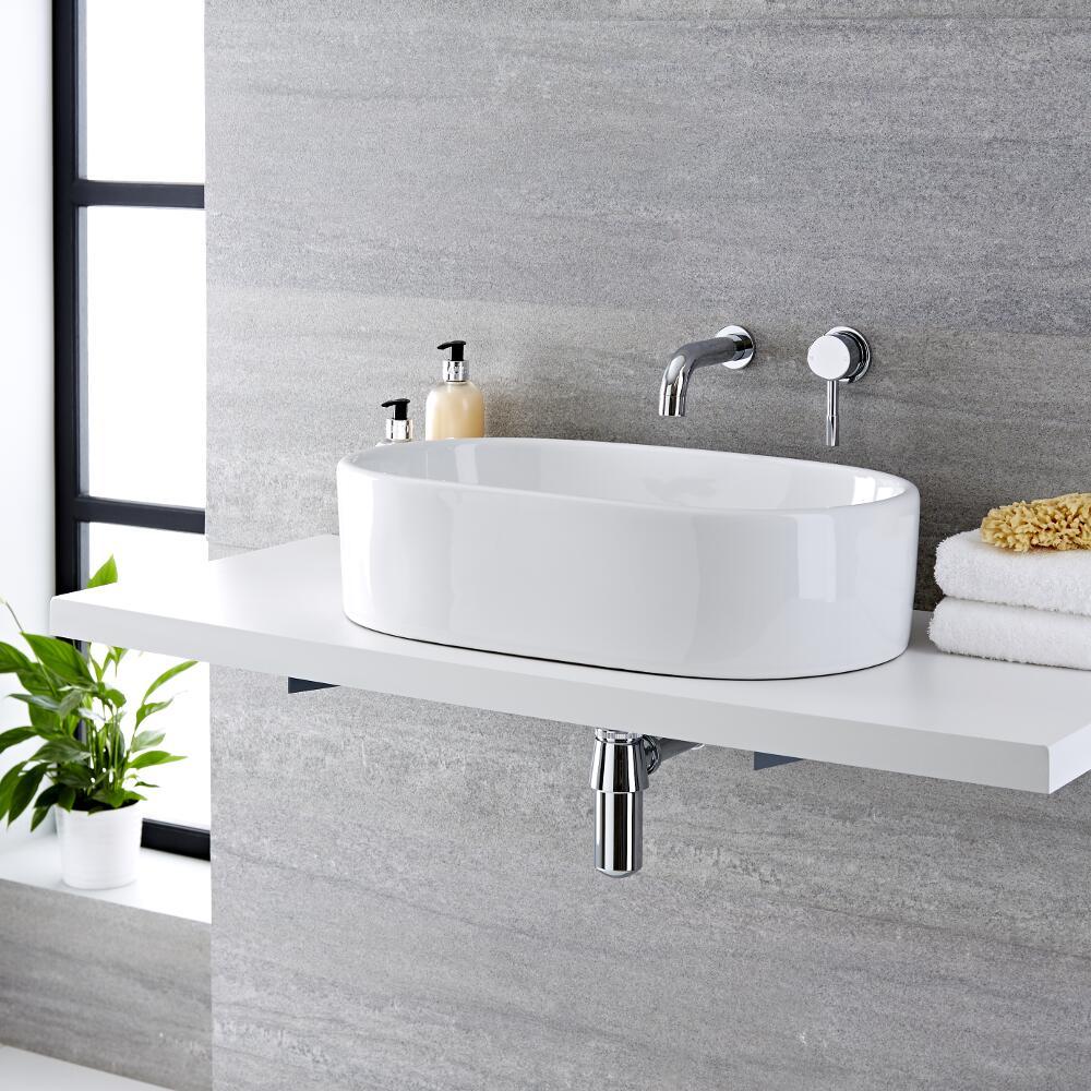Vasque à poser ovale 55 x 34.5cm Otterton & Mitigeur Mural Mirage