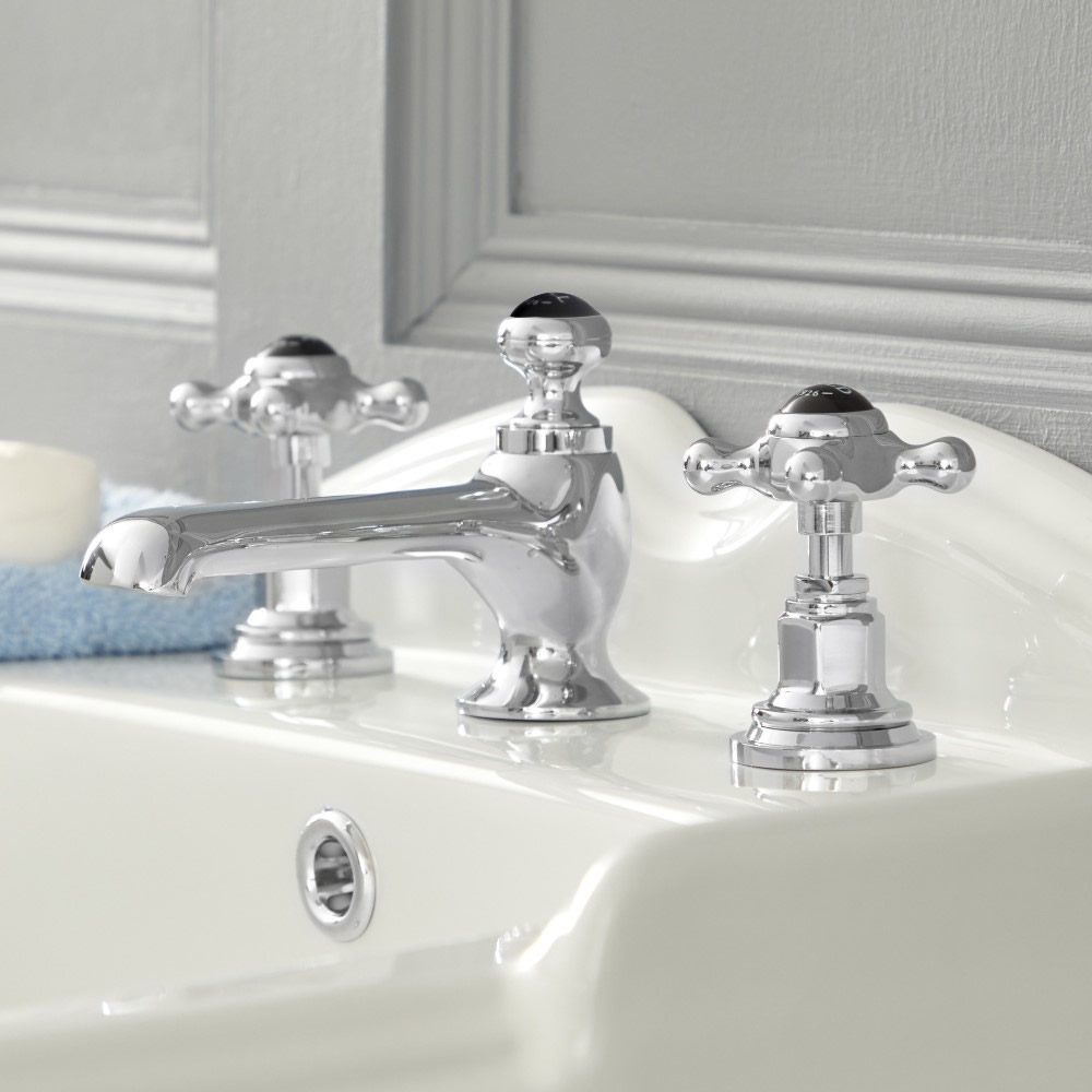 Mélangeur lavabo 3 trous – Commandes croisillons - Chromé et noir - Elizabeth