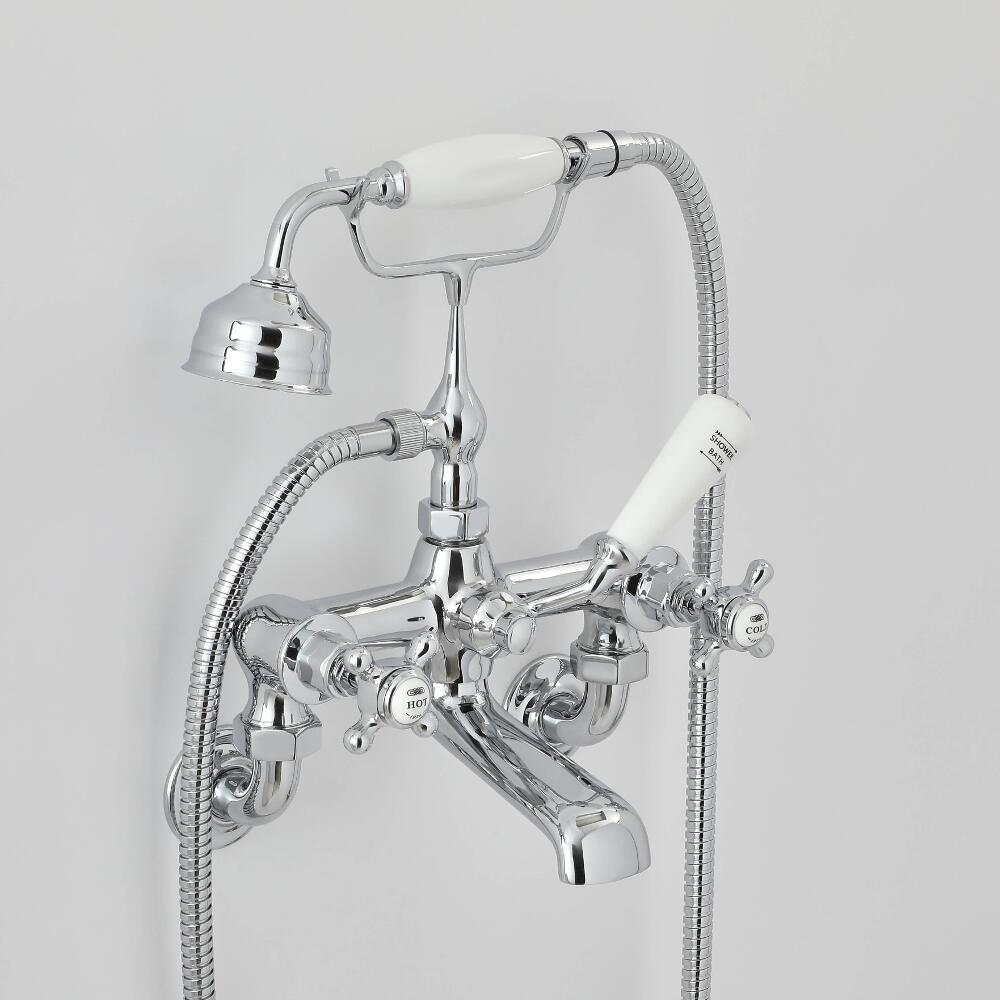 Mélangeur bain douche mural rétro à croisillon - choix de finitions - Elizabeth