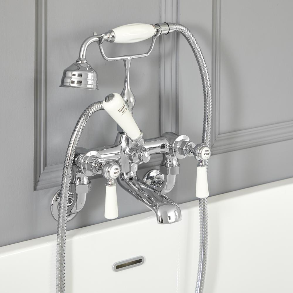 Mélangeur bain douche mural rétro – Commandes leviers – Chromé et blanc - Elizabeth