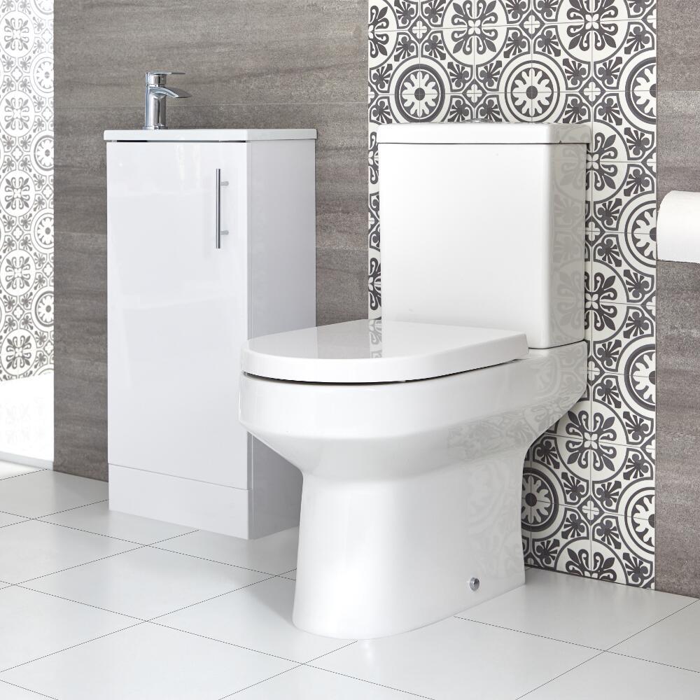 Ensemble meuble lave-mains à poser avec plan vasque et pack WC – 40 cm – Choix de finition - Covelly