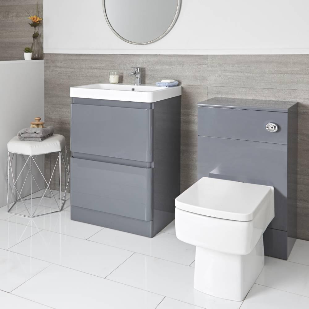 Meuble sous lavabo 60 cm et meuble WC avec WC à poser – Gris - Daxon