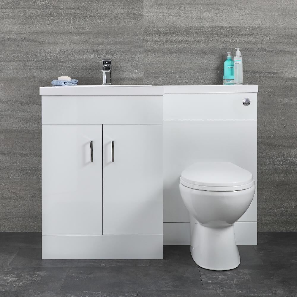 Meuble lavabo et toilette WC gauche – Blanc   Geo