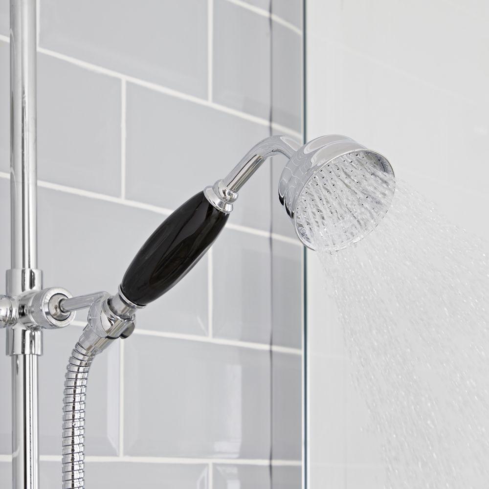 rampe et raccord coud/é Kit de douche r/étro Hudson Reed Elizabeth flexible Mitigeur thermostatique /à une fonction et kit douchette sur rampe avec douchette Bronze huil/é