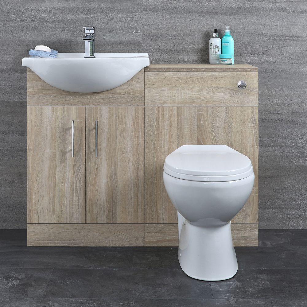 Meuble lavabo et meuble WC avec cuvette et réservoir – Effet chêne – 12 cm  – Classic Oak