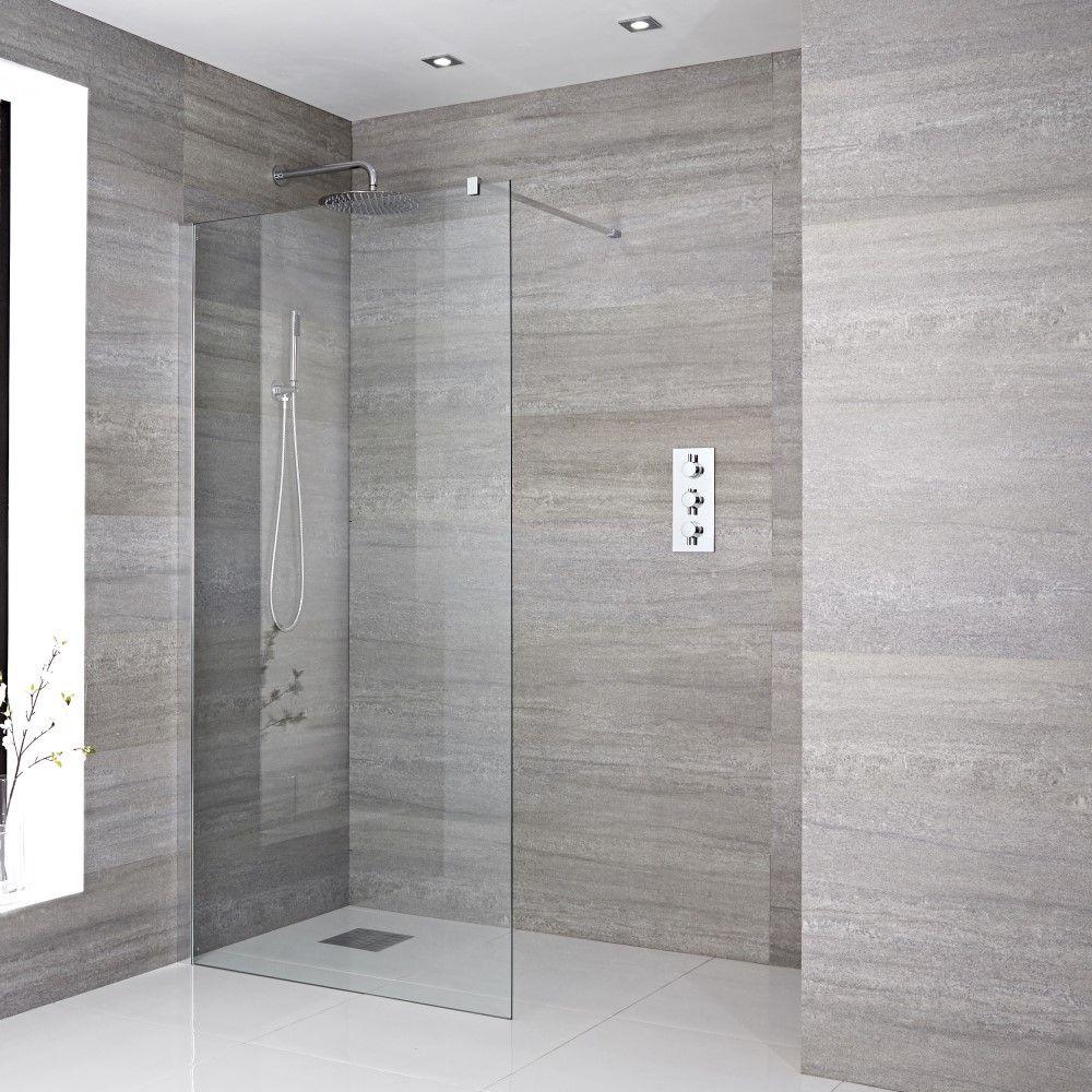 paroi de douche italienne  chromé  tailles multiples