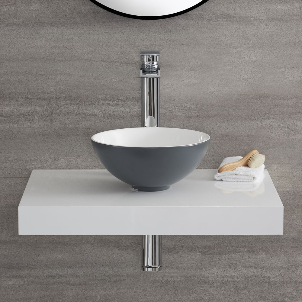 Vasque à poser ronde en céramique gris pierre Ø28 cm – Witton