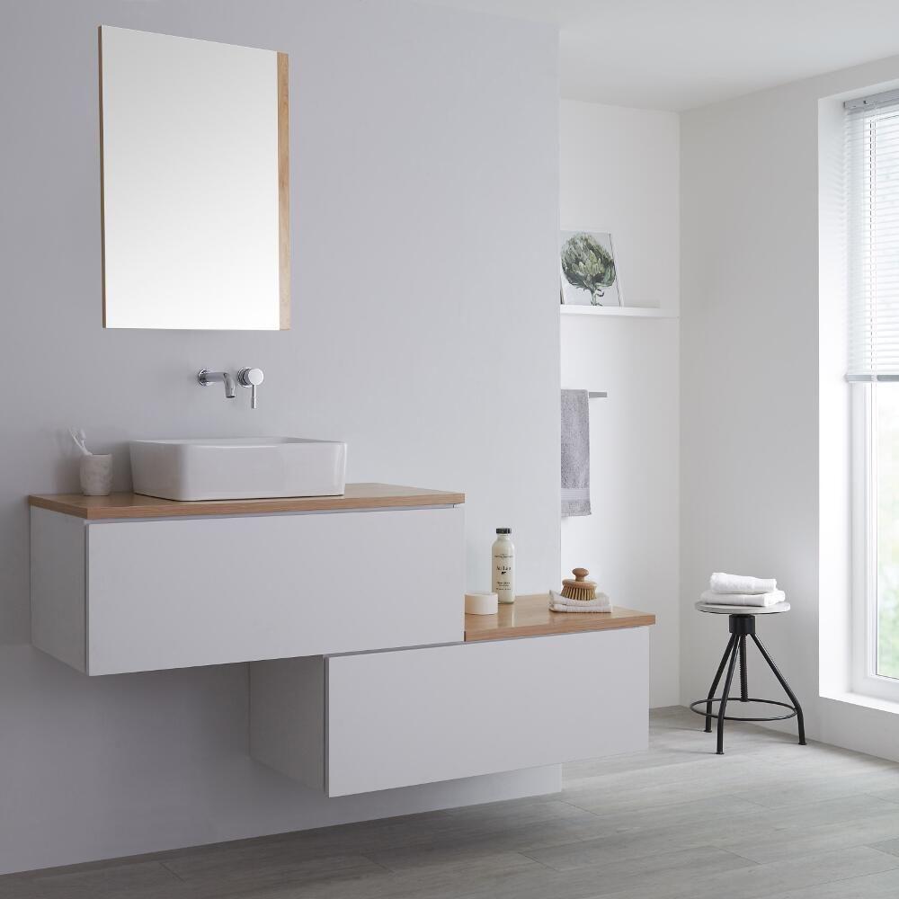 Meuble salle de bain avec vasque à poser blanc & chêne doré Newington -  160cm
