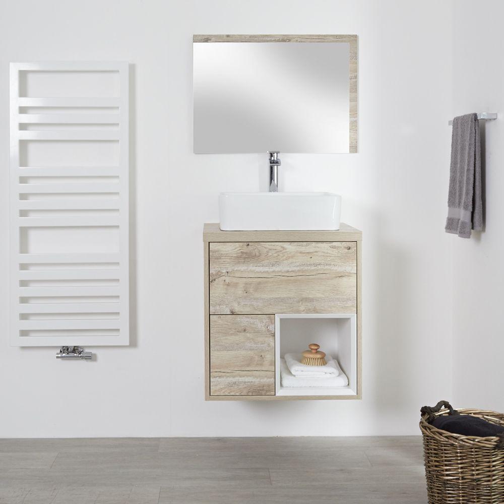 Meuble salle de bain chêne clair avec vasque à poser - 60cm - 2 tiroirs