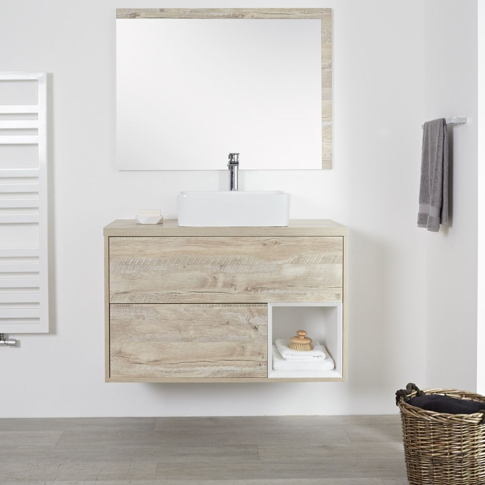 Meuble salle de bain chêne clair avec vasque à poser - 100cm - 2 tiroirs