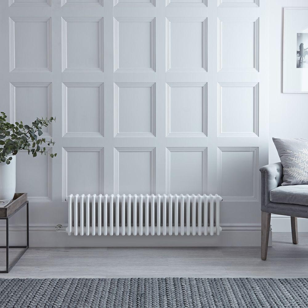 Radiateur électrique horizontal - Style fonte - Blanc - 30 cm x 119 cm x 10  cm - Choix de thermostat Wi-Fi - Windsor