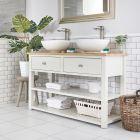 Meuble sous lavabo avec double vasques rondes – 124 cm – Blanc crème - Stratford
