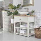 Meuble sous lavabo avec vasque ronde – 84 cm – Blanc crème - Stratford