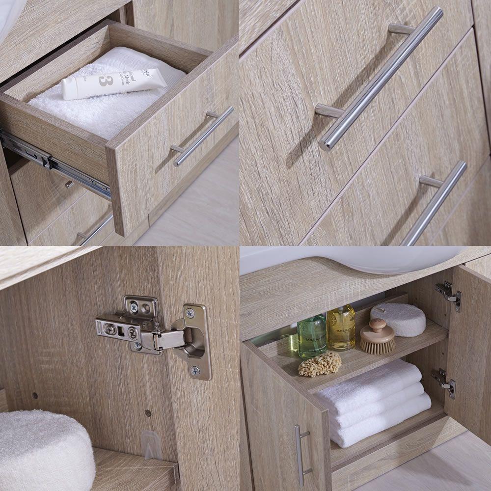meuble lavabo 106x78x48cm classic oak. Black Bedroom Furniture Sets. Home Design Ideas
