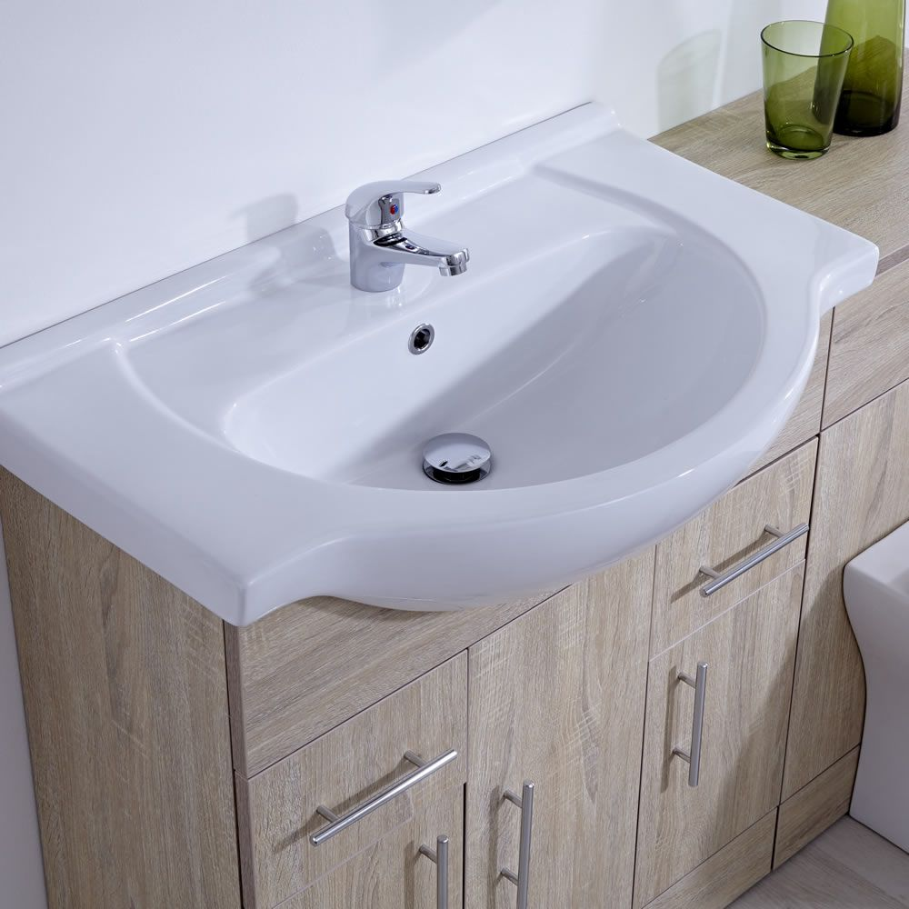 meuble lavabo toilette wc 75x78x48cm classic oak. Black Bedroom Furniture Sets. Home Design Ideas