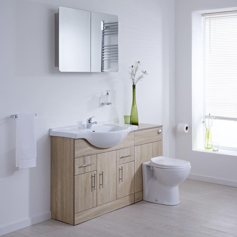 Meuble Lavabo Toilette Wc 85x78x48cm Classic Oak