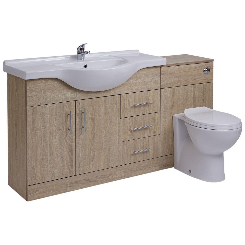 meuble lavabo toilette wc 106x78x48cm classic oak. Black Bedroom Furniture Sets. Home Design Ideas