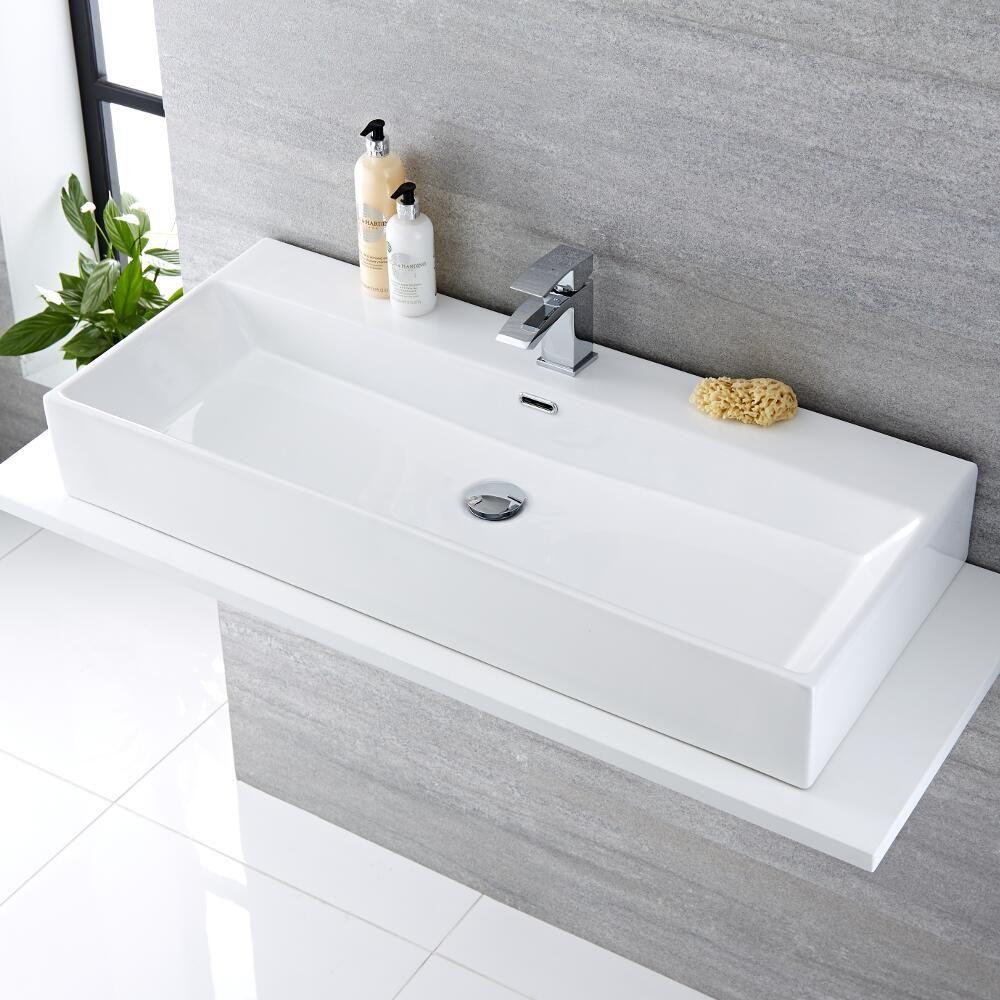 grande vasque poser 100 x 42cm sandford - Grande Vasque A Poser