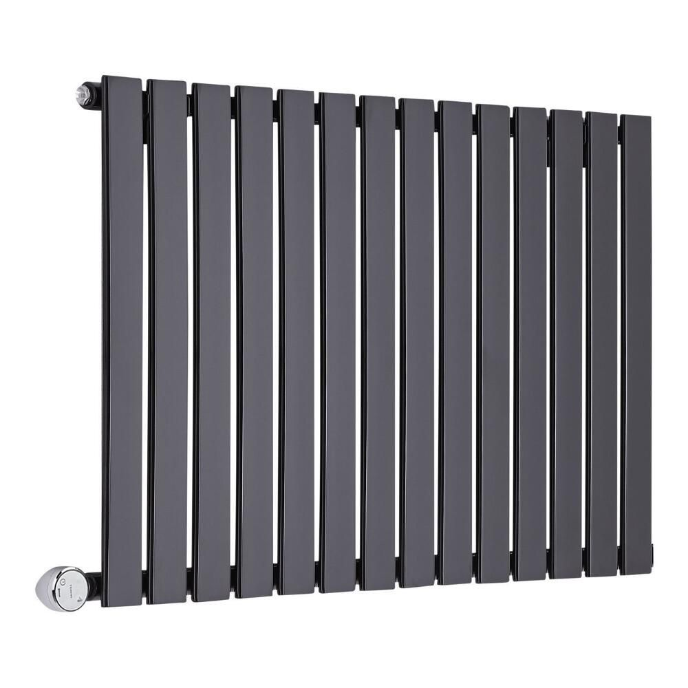 radiateur design lectrique horizontal noir delta 63 5cm x 98cm x 4 6cm. Black Bedroom Furniture Sets. Home Design Ideas