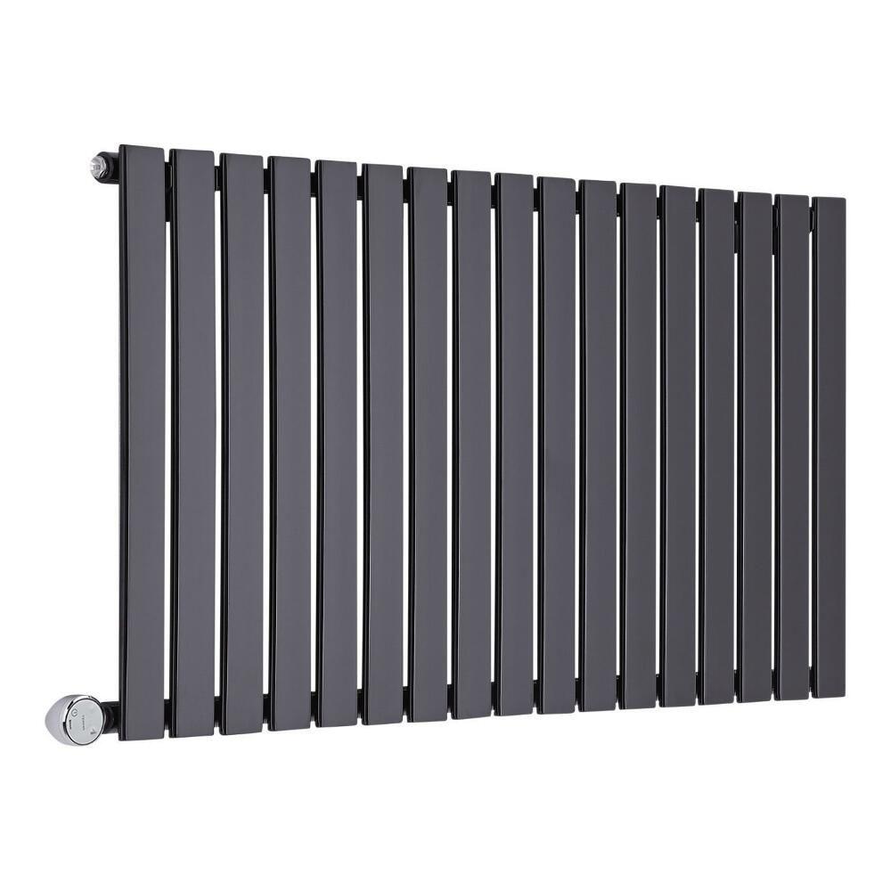 radiateur design lectrique horizontal noir delta 63 5cm x 119cm x 4 6cm. Black Bedroom Furniture Sets. Home Design Ideas