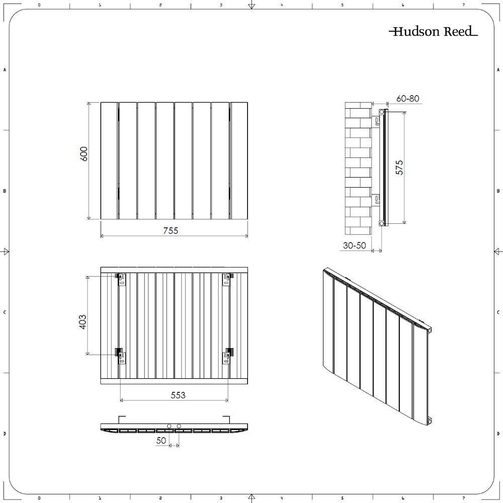 radiateur design horizontal raccordement central aluminium anthracite aurora 60cm x 75 5cm x 4. Black Bedroom Furniture Sets. Home Design Ideas