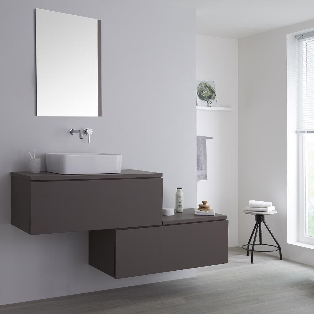 Meuble pour vasque poser gris newington 160cm - Meuble pour poser vasque ...