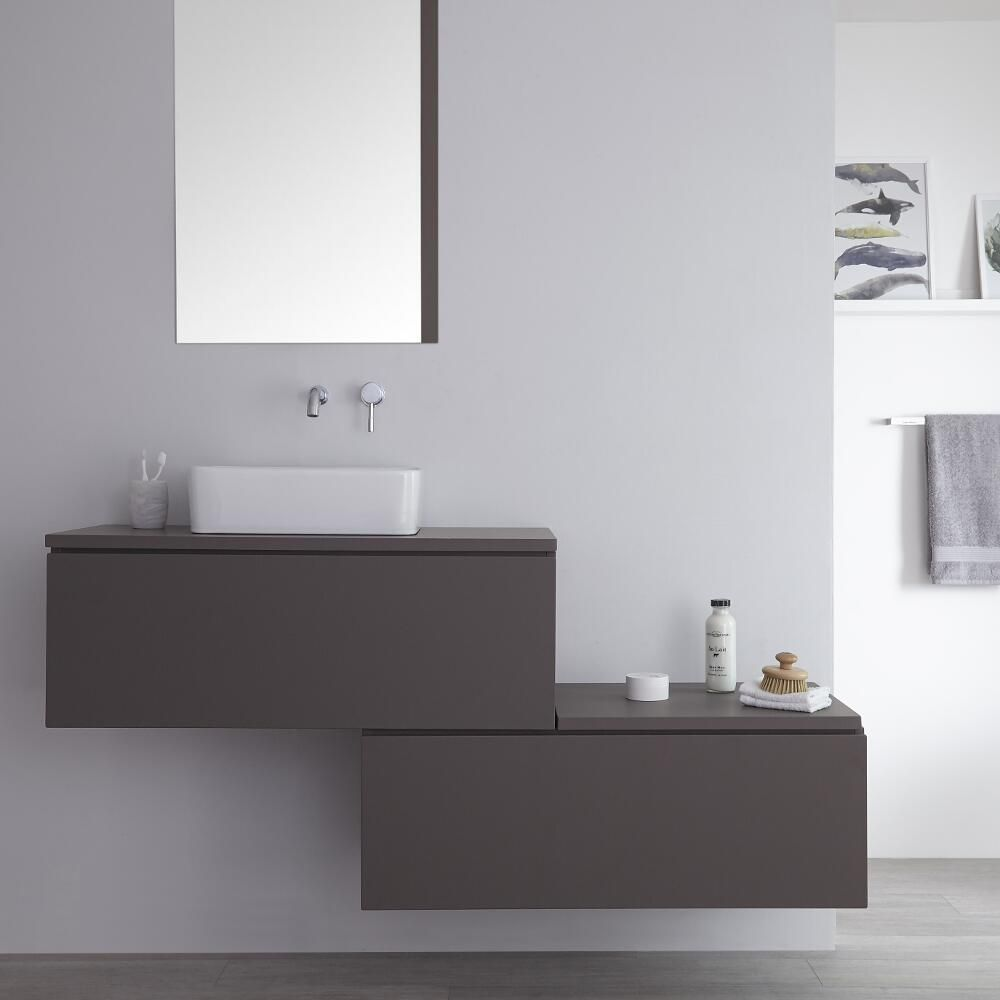 Meuble pour vasque poser gris newington 160cm - Meuble pour vasque a poser ...