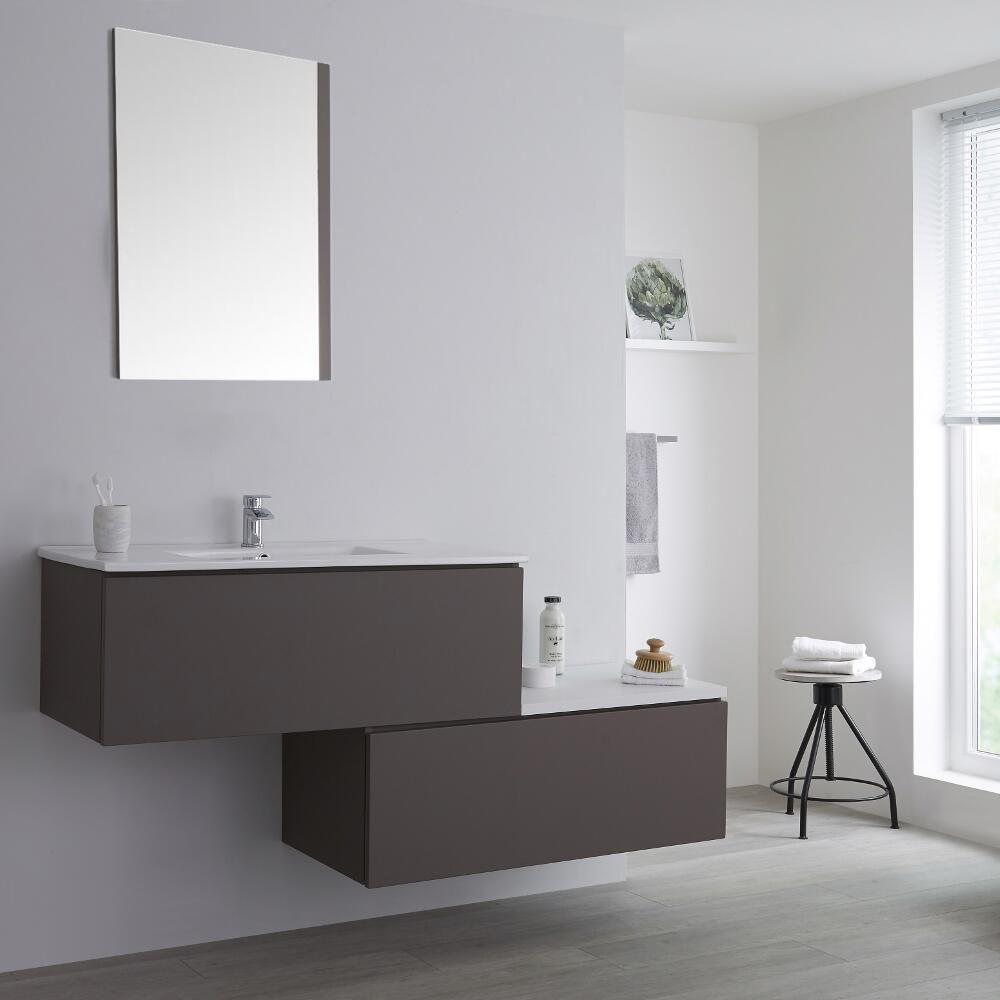 Lavabos, vasques Bricolage Double Vasque 160 Cm Blanc Avec 2 ...