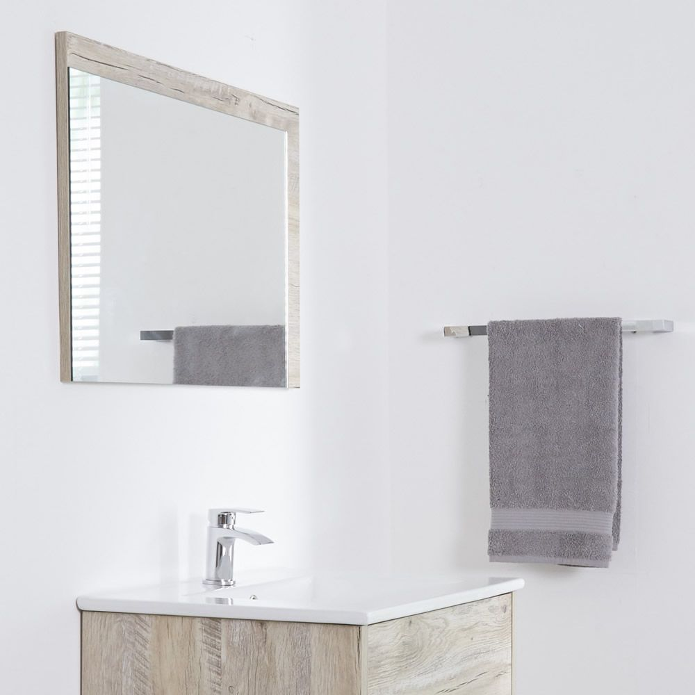 Miroir salle de bain 50x70cm Hoxton Cadre Chêne Clair