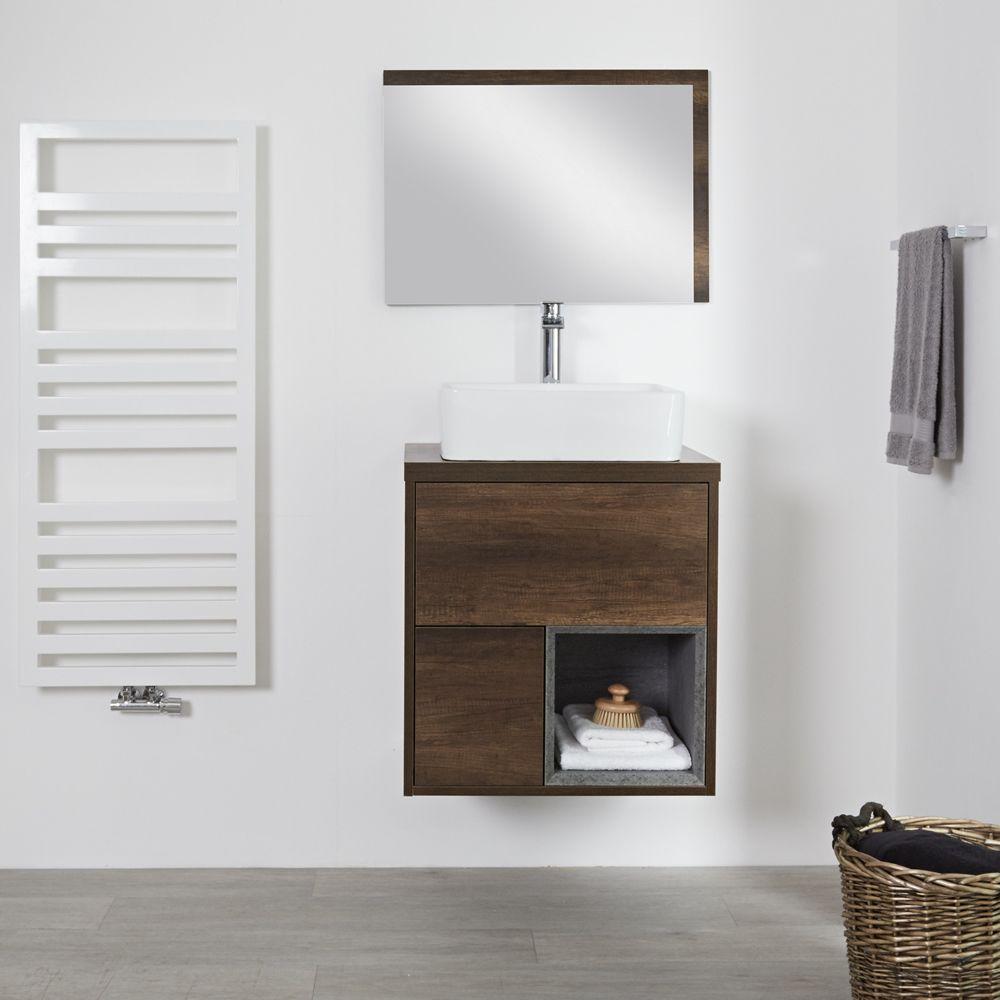 Meuble salle de bain chêne foncé avec vasque à poser - 60cm - 2 ...
