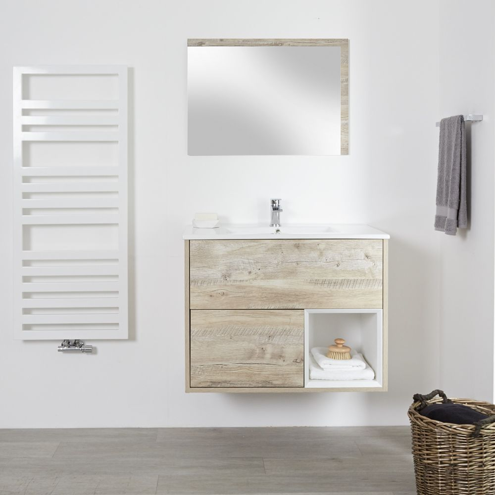 Meuble salle de bain chêne clair avec vasque encastrée - 46,5 x 81cm