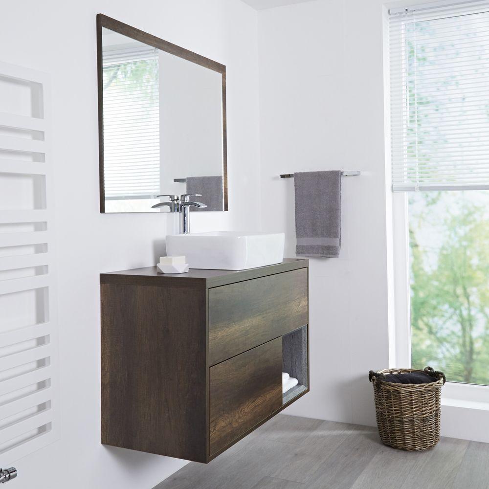 Meuble salle de bain ch ne fonc avec vasque poser - Meuble salle de bain avec vasque a poser ...