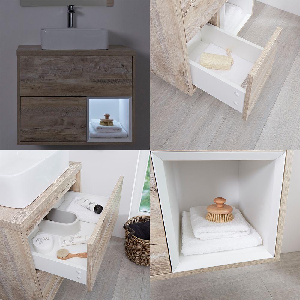 meuble salle de bain ch ne clair avec vasque poser. Black Bedroom Furniture Sets. Home Design Ideas