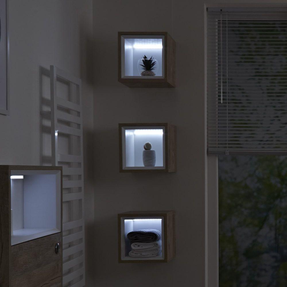 Petit Meuble salle de bain - 1 Niche 30x30cm Hoxton Chêne Clair