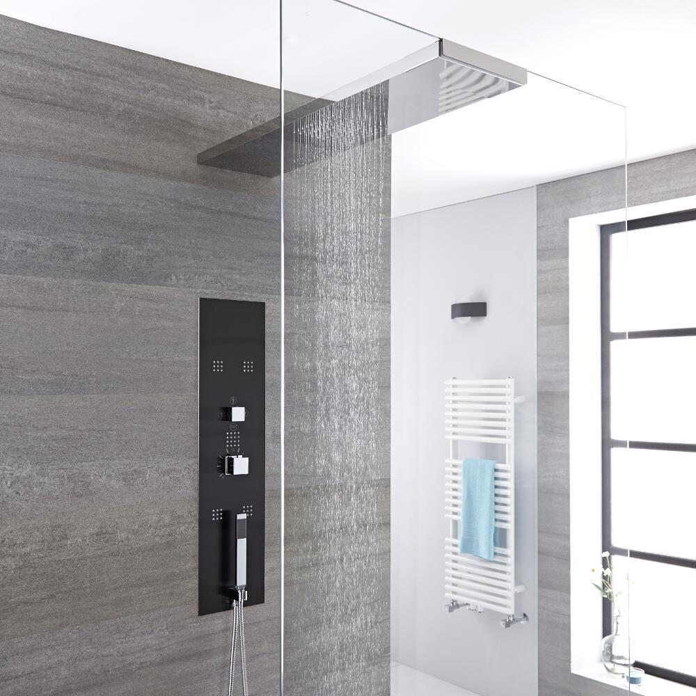 colonne de douche thermostatique encastrable 90x22cm avec. Black Bedroom Furniture Sets. Home Design Ideas