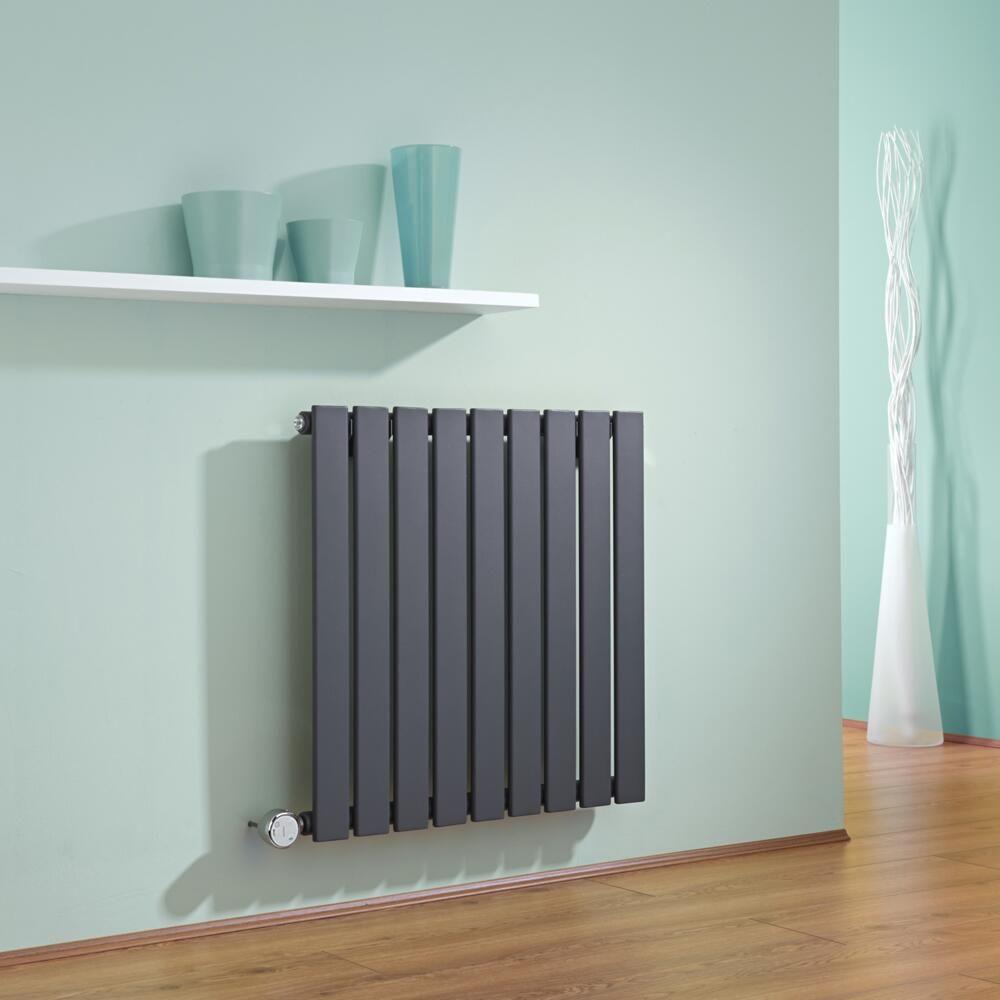 radiateur design lectrique horizontal anthracite delta 63 5cm x 63cm x 4 6cm. Black Bedroom Furniture Sets. Home Design Ideas